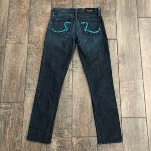 Rock & Republic Blue Embroidered Jeans